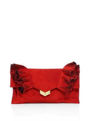 Jimmy Choo Isabella Ruffled Suede Flap Clutch In Red