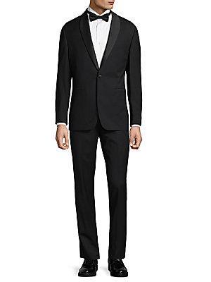 Vince Camuto Wool Peak Lapel Tuxedo In Black