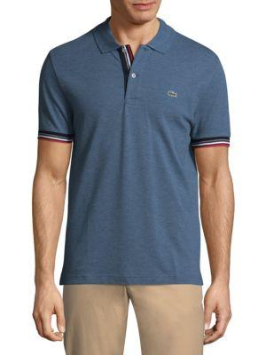 Lacoste Short-Sleeve Logo Cotton Polo In Denim
