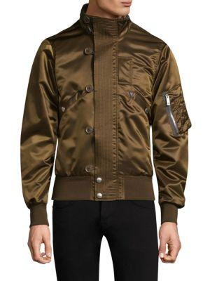 Burberry Matthews Bomber Jacket In Khaki Brown