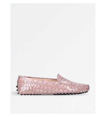 Tod's Mocassino Croc-Embossed Leather Driving Shoes In Pale Pink