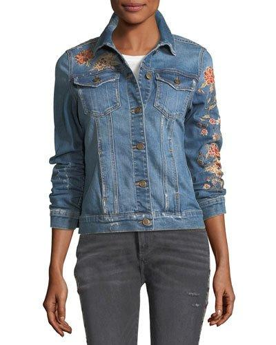 Driftwood Geena Floral-Embroidered Jean Jacket In Medium Blue