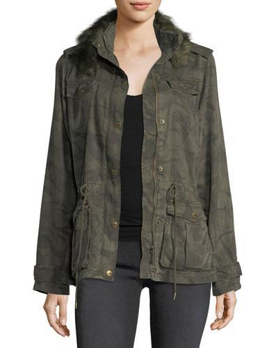 Nanette Lepore Faux-Fur Camo Utility Jacket In Dark Green