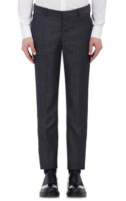 Alexander Mcqueen Wool-Mohair Twill Flat-Front Trousers In Navy