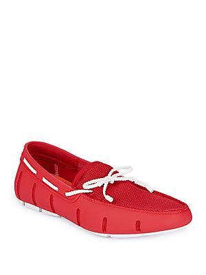Swims Braided Lace Driving Loafers In Red