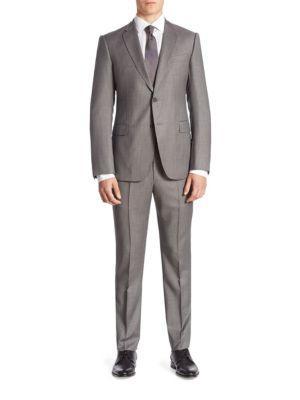 Armani Collezioni M Line Pinstripe Wool Suit In Grey
