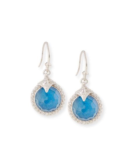 Armenta 12Mm New World Milky Blue Quartz Triplet Round Drop Earrings With Diamonds