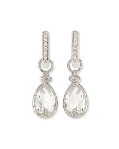 Jude Frances Pear Provence White Topaz & Diamond Earring Charms In White Gold