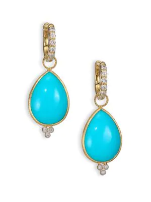 Jude Frances Classic Turquoise, Diamond & 18K Yellow Gold Large Pear Earring Charms In Gold-Turquoise