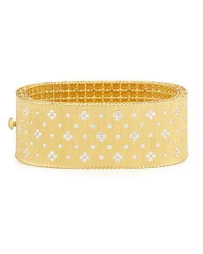 Roberto Coin Princess 18K Yellow Gold Wide Diamond Bangle