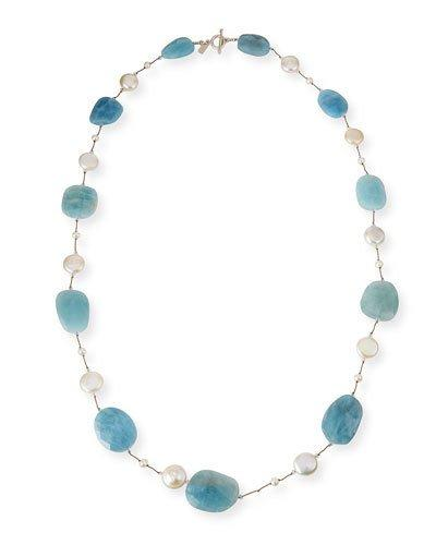 """Margo Morrison Aquamarine & Coin Pearl Long Necklace, 35""""L"""