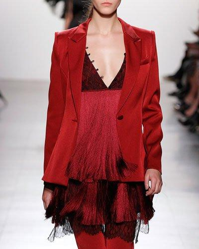 Prabal Gurung Tiered Fringe Minidress With Lace Bodice, Garnet In Red