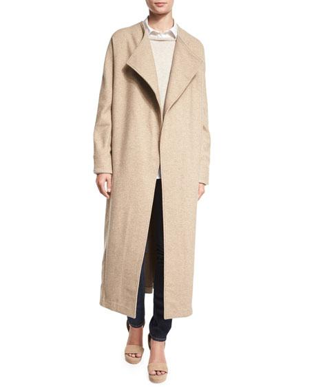 Misook Collection Long Drama Coat, Almond Latte In Almond/Latte