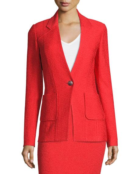 St. John Clair Patch-Pocket Knit Jacket, Red