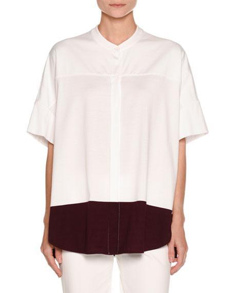 Piazza Sempione Colorblock Half-Sleeve Tunic, White/Purple