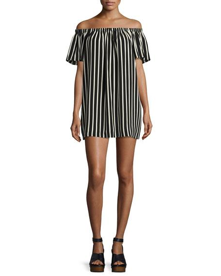 French Connection Polly Plains Off-The-Shoulder Striped Dress In Black/White