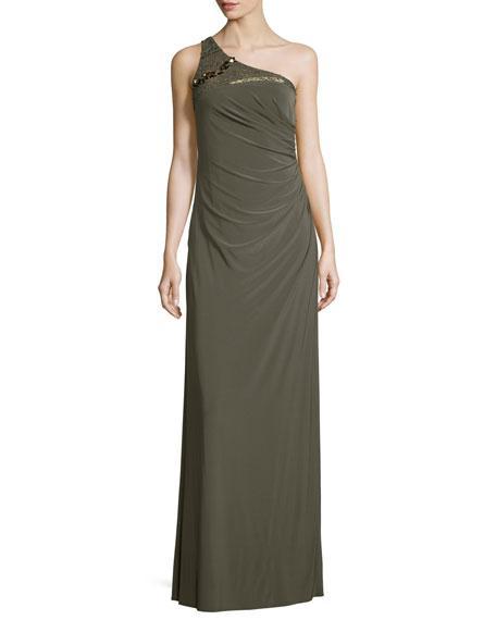 Mignon Embellished One-Shoulder Draped Gown, Olive