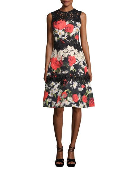 Rickie Freeman For Teri Jon Sleeveless Floral Jacquard A-Line Cocktail Dress, Black/Multicolor