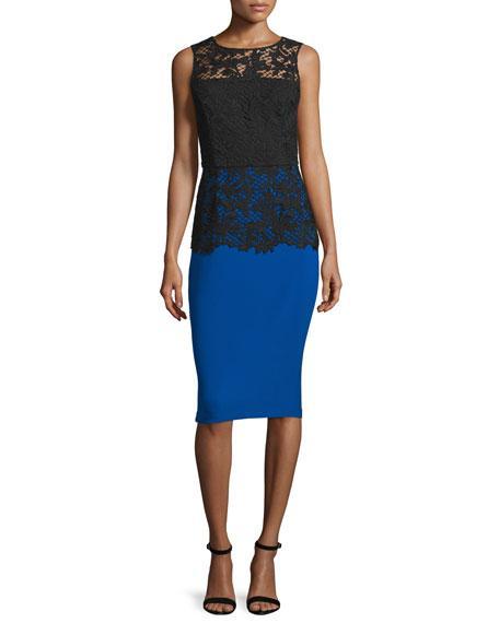 Sachin & Babi Woman Carolina Lace And Stretch-Cady Dress Royal Blue