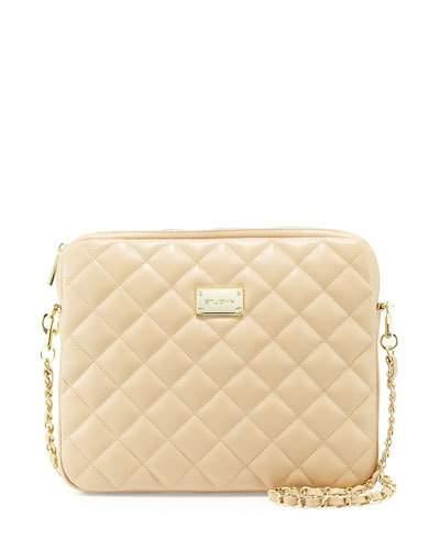 St. John Quilted Leather Chain Shoulder Bag, Classic Beige/Gold In Black