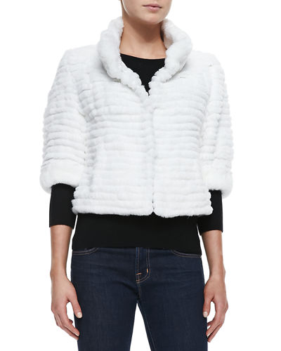 Belle Fare High-Collar Layered Fur Coat, White, White