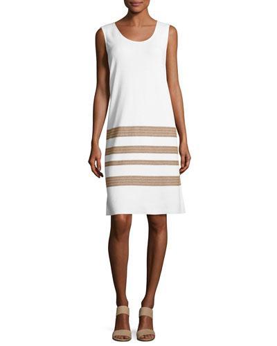 Lafayette 148 Sleeveless Cotton Crepe Yarn Striped Dress, Multi In White/Chai