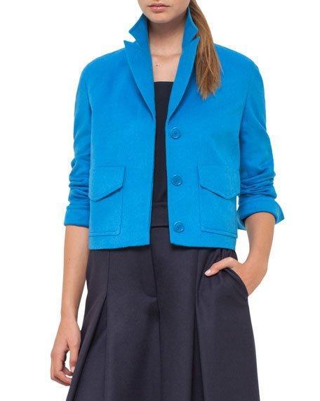 Akris Punto Patch-Pocket Cropped Blazer, Royal In Azur