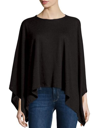 Majestic Double-Face Cotton/Cashmere Knit Poncho In Black