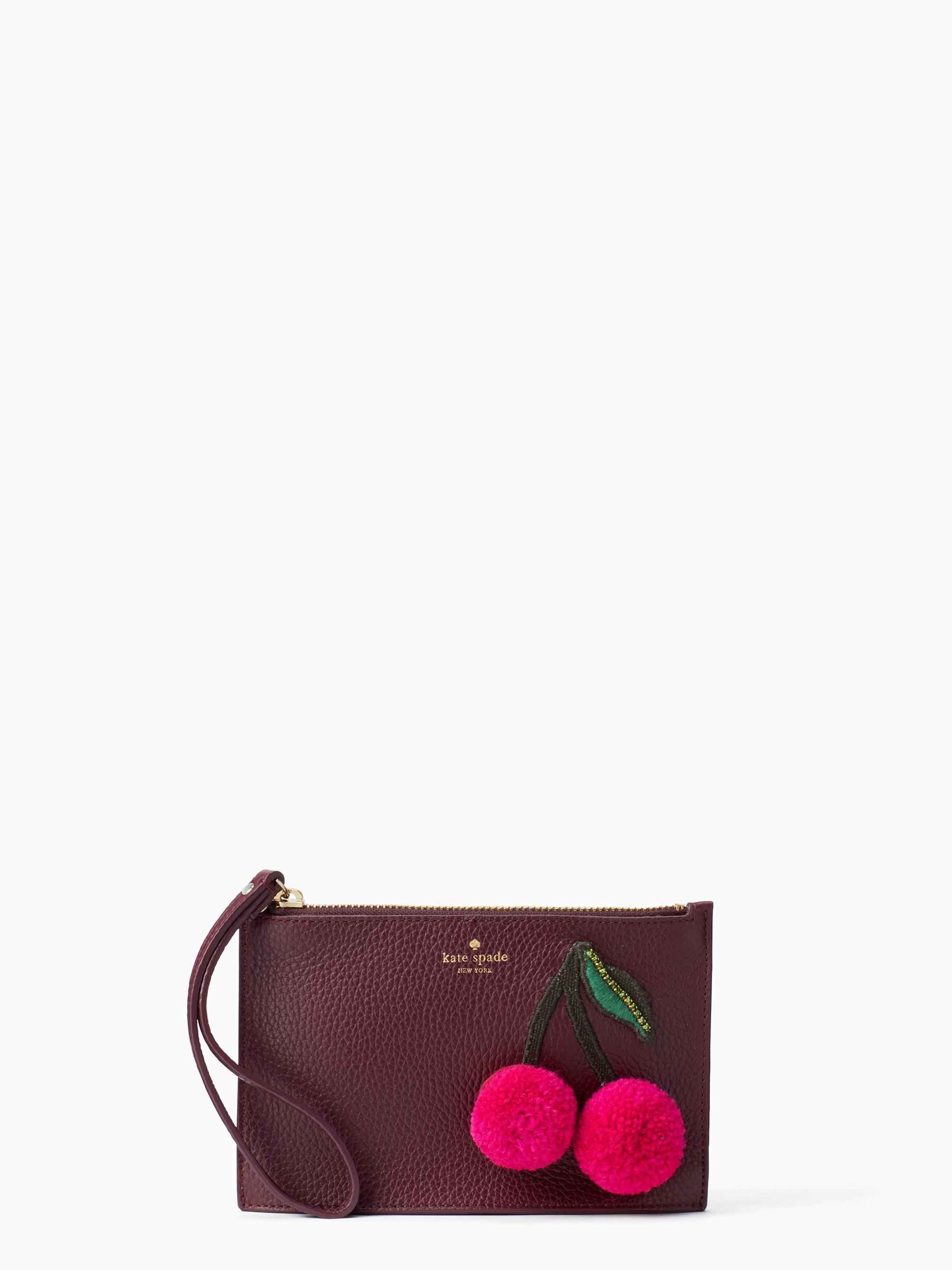 Kate Spade On Purpose Cherry Applique Mini Leather Wristlet In Deep Plum
