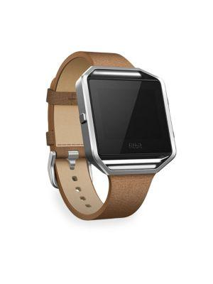 Fitbit Luxe Leather Blaze Large Tapered Band & Frame In Camel