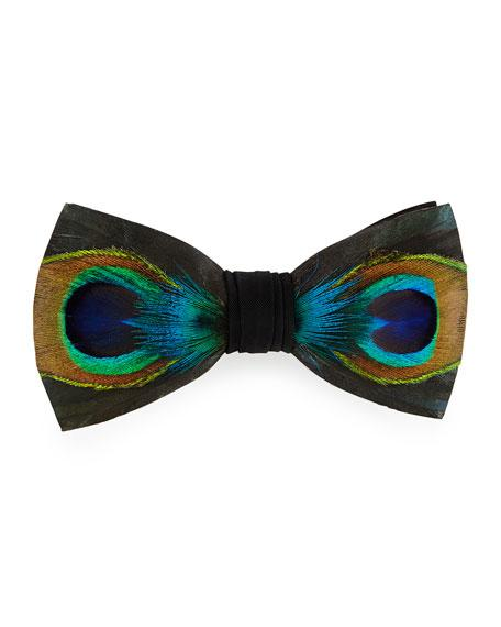 Brackish Bowties Hugo Peacock-Feather Bow Tie, Green