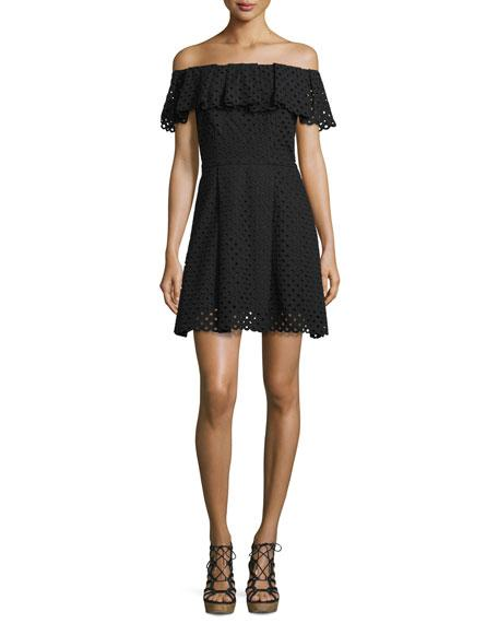 Cynthia Rowley Off-The-Shoulder Eyelet Mini Dress, Black