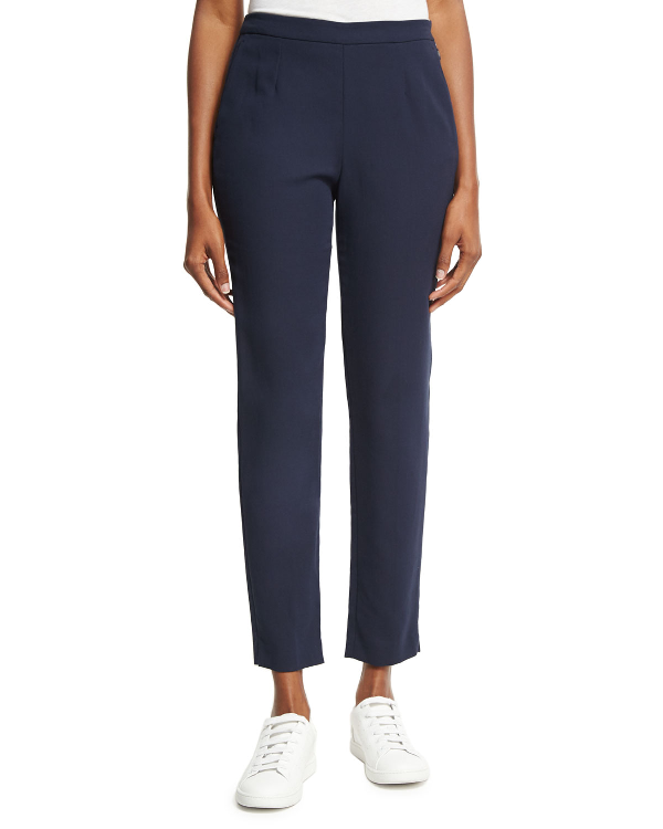 Loro Piana Lewin Straight-Leg Ankle Pants In Blue