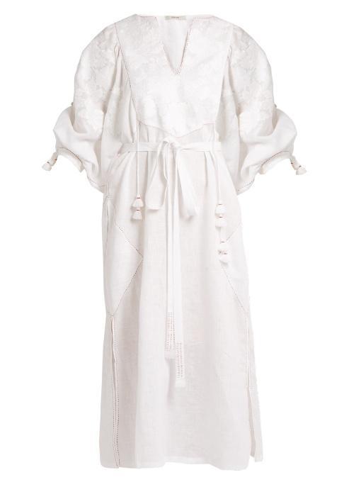 Vita Kin Summer Garden Embroidered Mid-Weight Linen Dress In White
