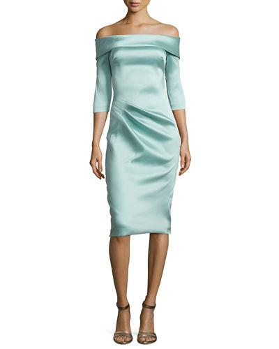 Theia Stretch Satin Off-The-Shoulder Cocktail Dress, Blue