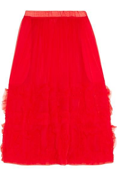 Comme Des Garcons Girl Ruffled Organza Midi Skirt