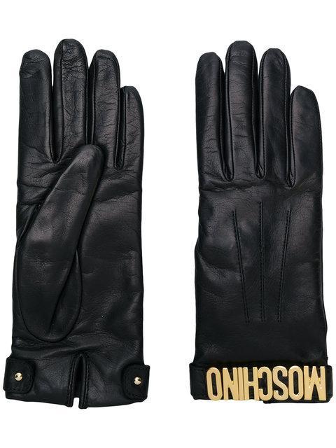Moschino Logo Plaque Gloves