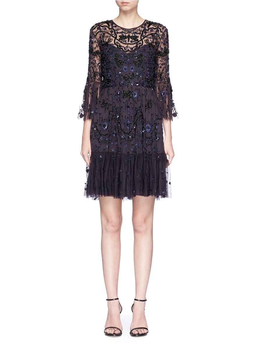 Needle & Thread 'Dragonfly' Embellished Floral Embroidery Mesh Dress
