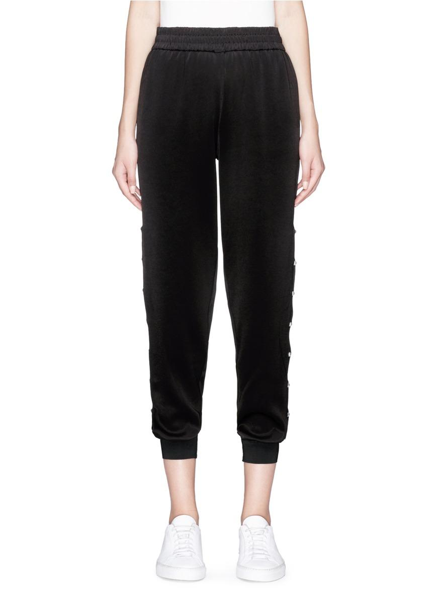 Alice And Olivia 'Pete' Faux Pearl Outseam Satin Jogging Pants