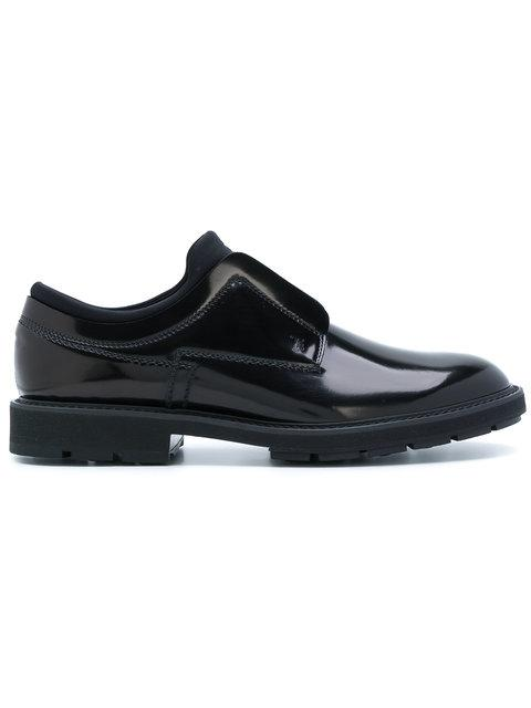 Tod's Brushed Leather And Scuba Slip-Ons In Black