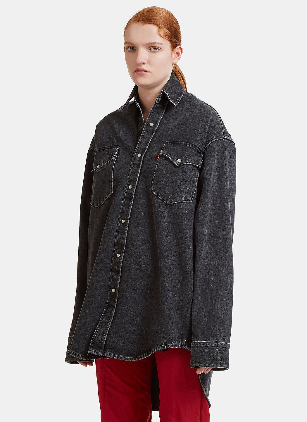 Vetements X Levi Heavy Denim Shirt In Black