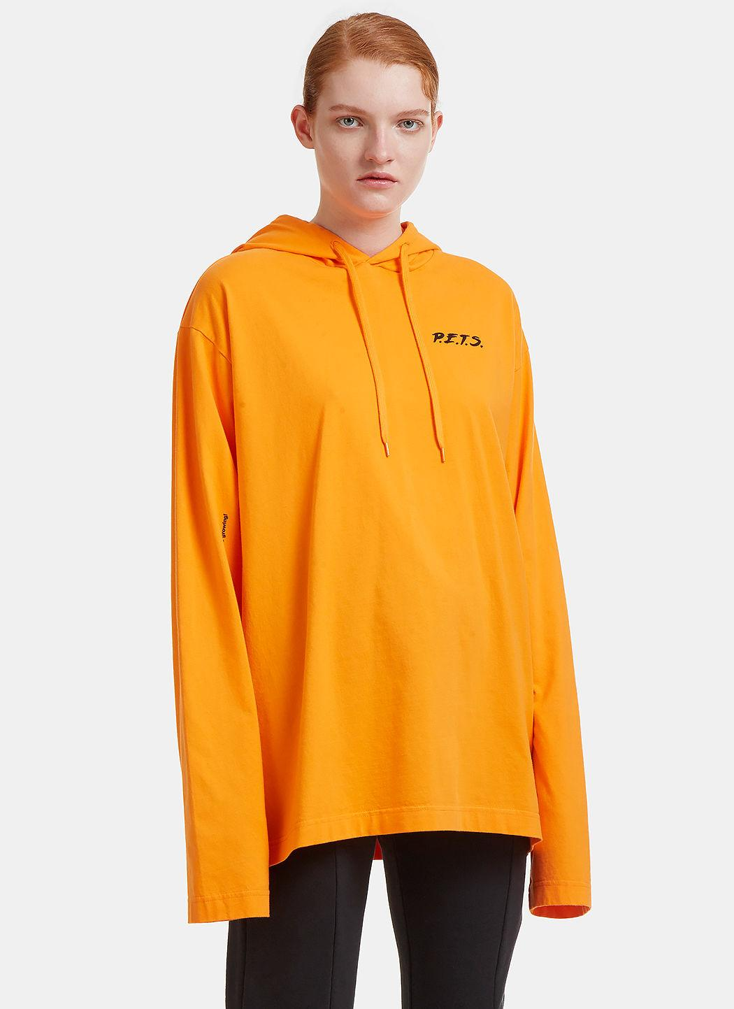Vetements Oversized P.E.T.S. Printed Hooded Sweater In Orange