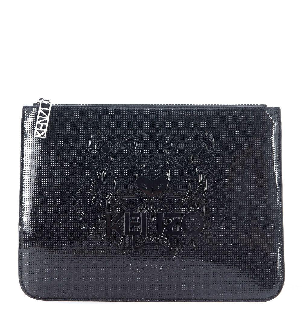 Kenzo Black Rubber Clutch In Nero
