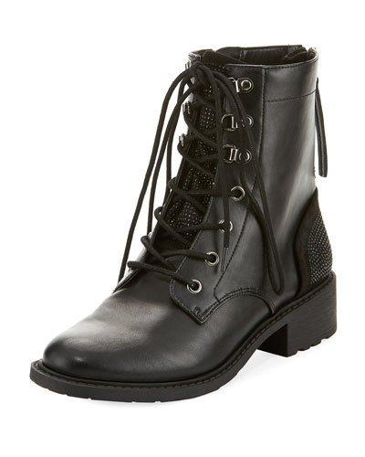 Circus By Sam Edelman Dawson Faux-Leather Combat Bootie, Black
