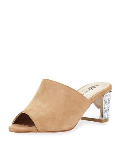 Neiman Marcus Carly Embellished-Heel Suede Mule, Neutral