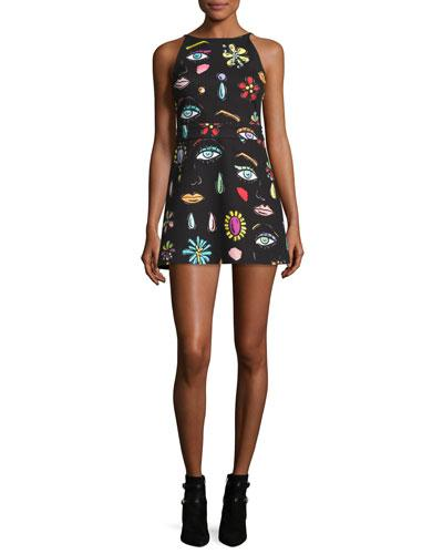 Boutique Moschino Sleeveless Fantasy-Print Babydoll Dress, Black
