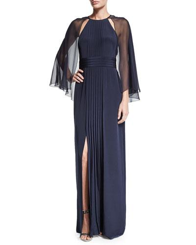 Kay Unger Pleated-Front Gown W/Cape, Navy