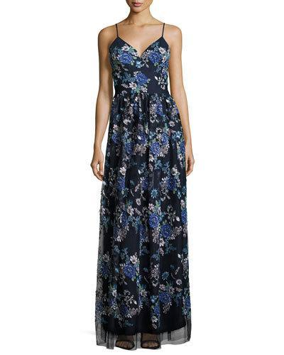 Nicole Miller Sleeveless Floral-Print Maxi Gown, Navy
