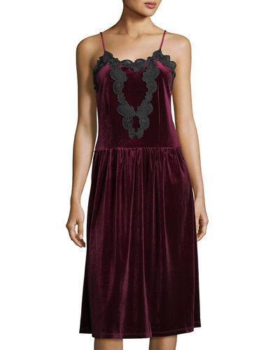 Romeo & Juliet Couture Velvet Pleated-Skirt Slip Dress In Burgundy