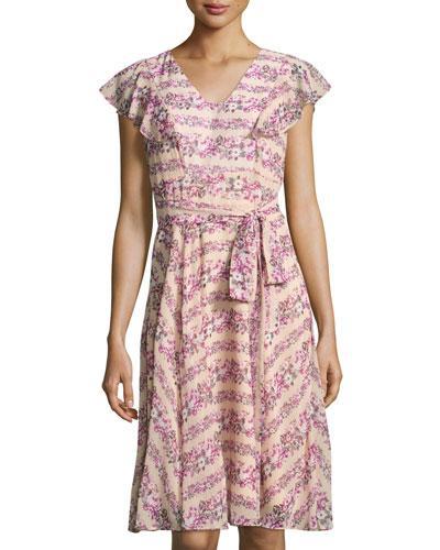 Nanette Lepore Floral-Print Flutter-Sleeve Dress, Pink Pattern